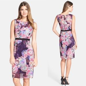 Adrianna Papell Floral Chiffon Sheath Dress